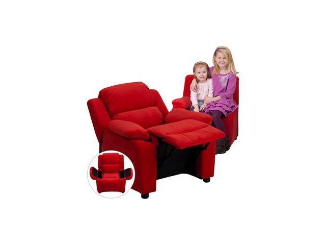 Deluxe Heavily Padded Contemporary Red Microfiber Kids Recliner with Storage Arms [BT-7985-KID-MIC-RED-GG]