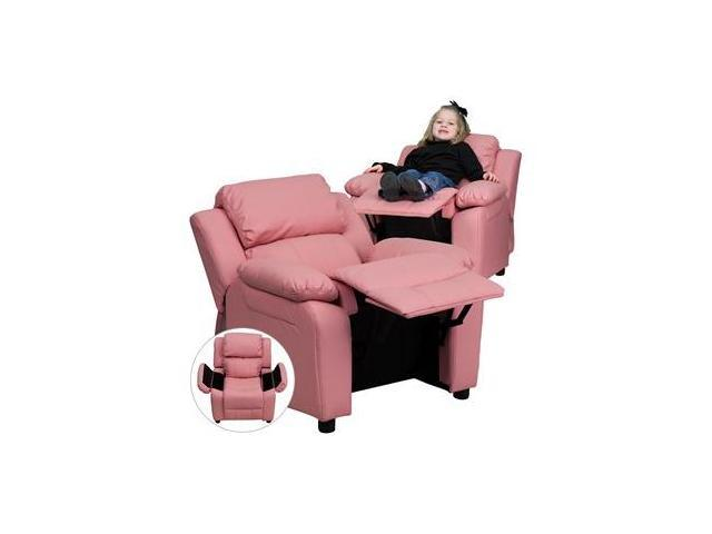 Deluxe Heavily Padded Contemporary Pink Vinyl Kids Recliner with Storage Arms [BT-7985-KID-PINK-GG]