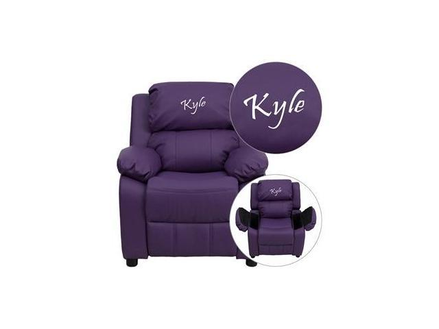 Personalized Deluxe Heavily Padded Purple Vinyl Kids Recliner with Storage Arms [BT-7985-KID-PUR-EMB-GG]
