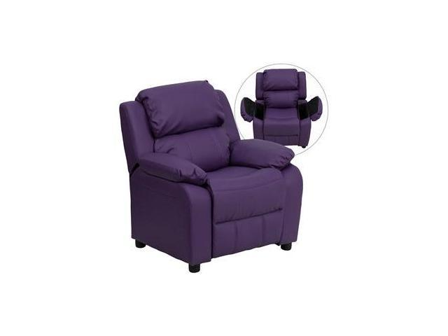Deluxe Heavily Padded Contemporary Purple Vinyl Kids Recliner with Storage Arms [BT-7985-KID-PUR-GG]
