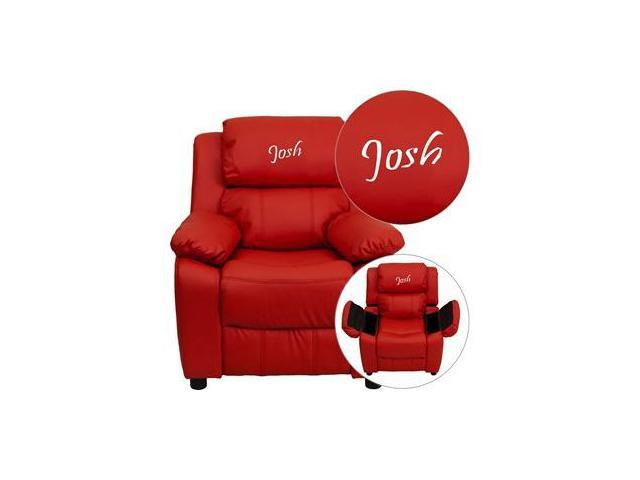 Personalized Deluxe Heavily Padded Red Vinyl Kids Recliner with Storage Arms [BT-7985-KID-RED-EMB-GG]