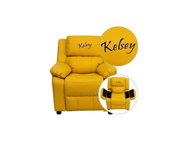 Personalized Deluxe Heavily Padded Yellow Vinyl Kids Recliner with Storage Arms [BT-7985-KID-YEL-EMB-GG]