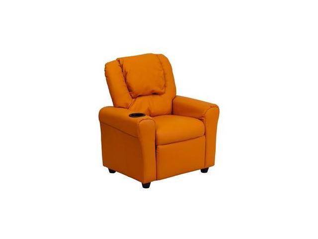 Contemporary Orange Vinyl Kids Recliner with Cup Holder and Headrest [DG-ULT-KID-ORANGE-GG]