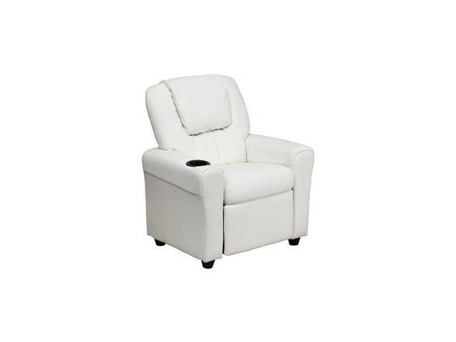 Contemporary White Vinyl Kids Recliner with Cup Holder and Headrest [DG-ULT-KID-WHITE-GG] - OEM