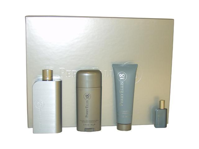 Perry Ellis 18 by Perry Ellis for Men - 4 Pc Gift Set 3.4oz EDT Spray, 3oz After Shave Balm, 2.75oz Alcohol Free Deodorant Stick, 7.5ml Mini EDT Spray