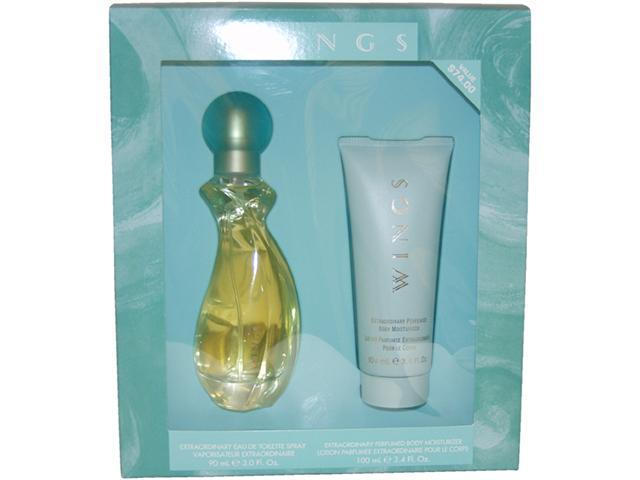 Wings by Giorgio Beverly Hills for Women - 2 pc Gift Set 3oz edt Spray, 3.4oz perfumed body moisturizer