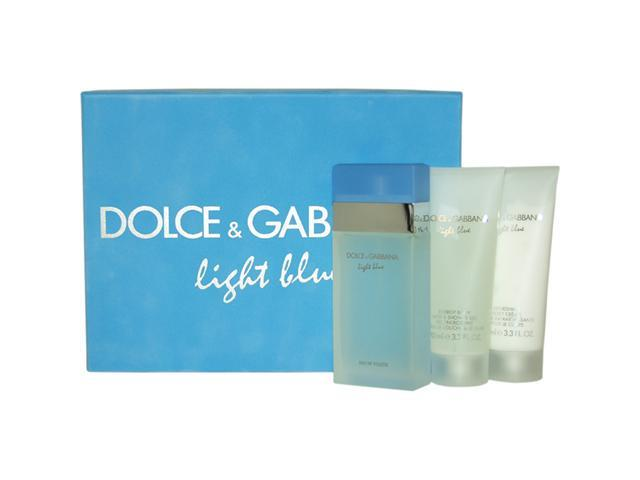 Light Blue by Dolce & Gabbana for Women - 3 Pc Gift Set 3.3oz EDT Spray, 3.3oz Refreshing Body Cream, 3.3oz Energy Body Bath & Shower Gel
