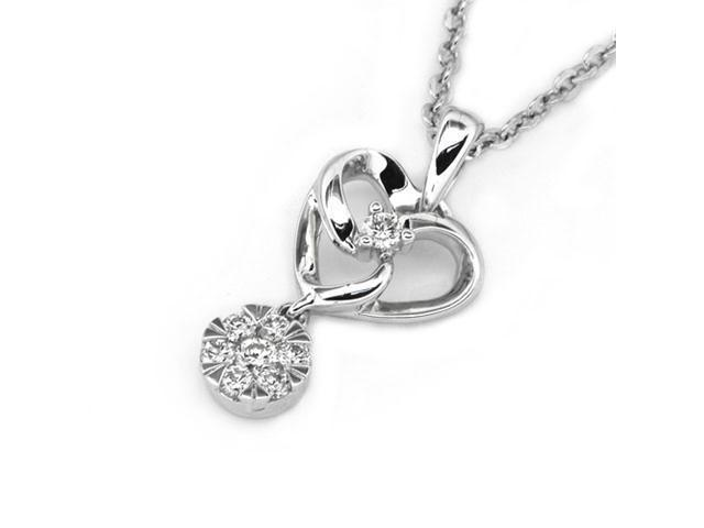 18K White Gold Round Diamond Heart With Six Diamond CenteRose Flower Dangle Pendant W/925 Sterling Silver Chain 18