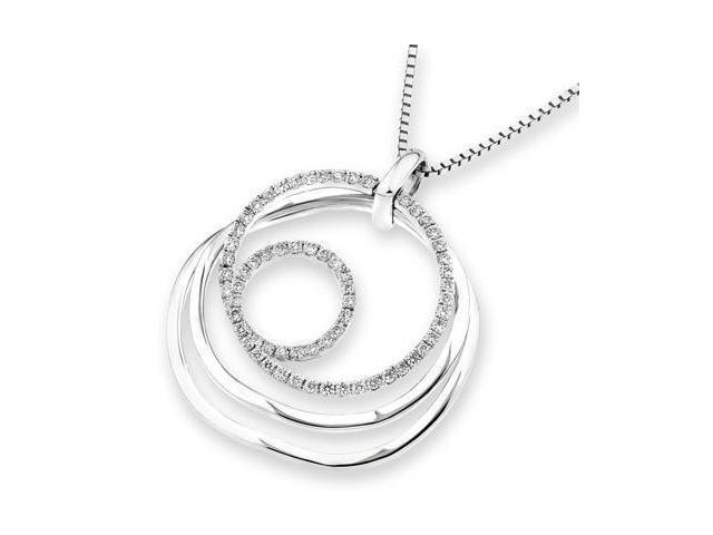 18K White Gold Round Diamond Dynamic Motion Pendant W/925 Sterling Silver Chain 18