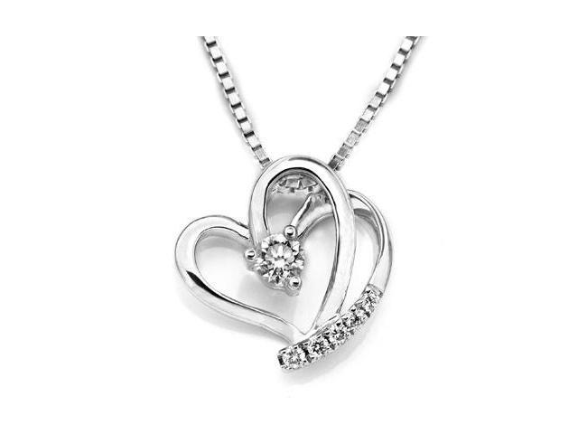 "18K White Gold Double Heart Diamond Accent Pendant W/925 Sterling Silver Chain 18"" (0.14 carats, G-H color, good SI1-2 Clarity)"