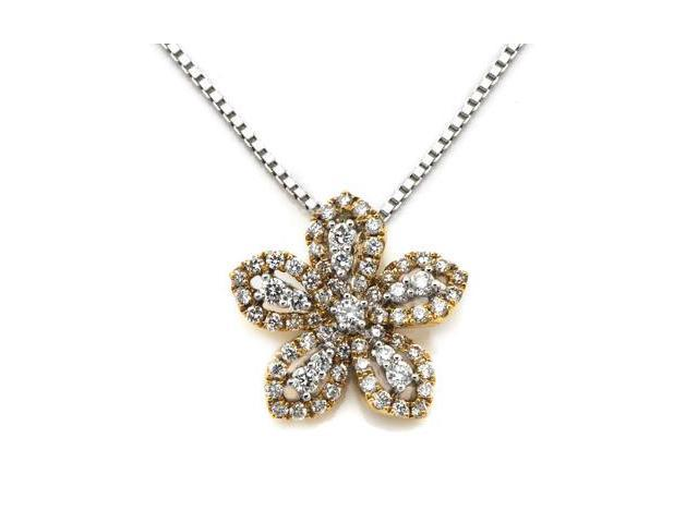 """18K/750 Rose And White Gold Flower Diamond Pendant W/925 Sterling Silver Chain 18"""" (0.42 carats, G-H color, good SI1-2 Clarity)"""