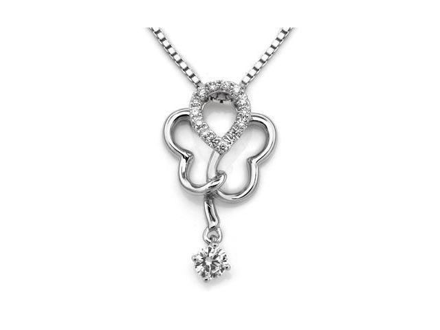 "18K/750 White Gold Floral Pattern with Dancing Diamond Pendant W/925 Sterling Silver Chain 18"" (0.19 carats, G-H color, SI1-2 ..."