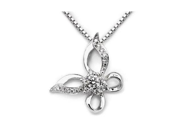 18K White Gold Polished Finished Round Diamond Filligree Butterfly Pendant w/ 925 Sterling Silver Chain 18