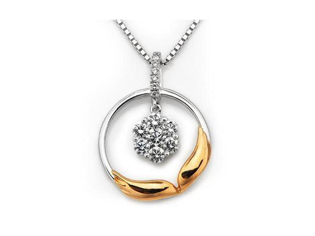 "18K Rose And White Gold Wing of Angel Illusion Setting Diamond Pendant w/ 925 Sterling Silver Chain 18"" (0.27 carats, G-H ..."