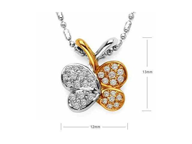 18K Rose And White Gold Butterfly Pave Setting Diamond Accent Pendant With 925 Sterling Silver Chain (0.23 cttw, G-H Color, ...