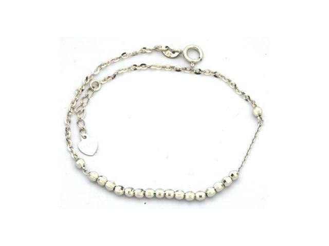 14K White Gold Diamond Cut Beads Bracelet (6.5
