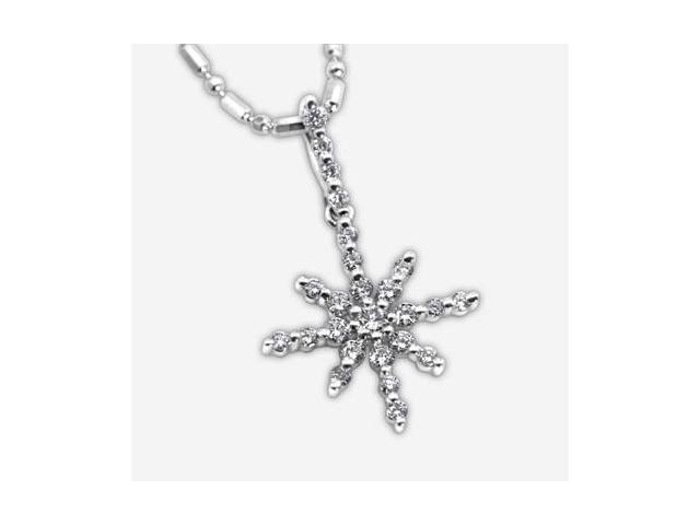 "18K White Gold Round Diamond Snowflake Pendant W/925 Sterling Silver Chain 16"" (0.25 cttw, G-H Color, VS2-SI1 Clarity)"