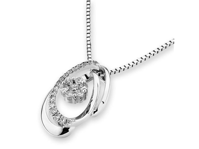 """18K White Gold Round Diamond Spiral Oval Pendant W/925 Sterling Silver Chain 16"""" (0.22 cttw, G-H Color, VS2-SI1 Clarity)"""