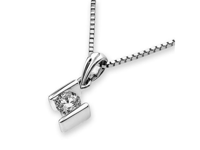 """18K White Gold Bar Setting Solitaire Diamond Pendant W/925 Sterling Silver Chain 16"""" (0.14 carats, G-H color, SI1-2 Clarity)"""