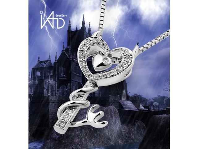 18K White Gold Diamond Key Pendant W/925 Sterling Silver Chain 18