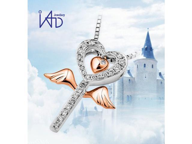 """18K (2 Tones) Rose And White Gold Wing of Angel On Heart Key Diamond Pendant w/925 Sterling Silver Chain 18"""" (0.14cttw, G-H ..."""