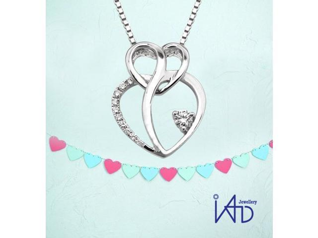 """18K/750 White Gold Diamond Pendant W/925 Sterling Silver Chain 16"""" (0.10cttw, G-H color, good SI1-SI2 Clarity)"""