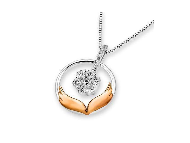 "18K Rose And White Gold Wing of Angel Illusion Setting Diamond Pendant W/925 Sterling Silver Chain 16"" (0.27 carats, G-H ..."