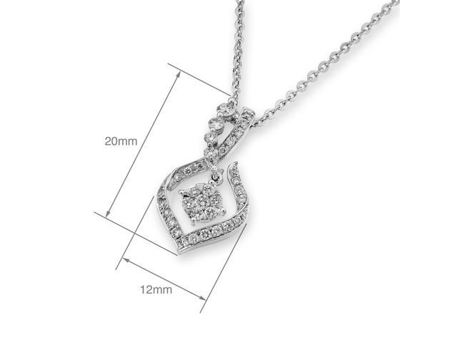 18K White Gold Journey Illusion Setting Diamond Pendant - W/925 Sterling Silver Chain 16""