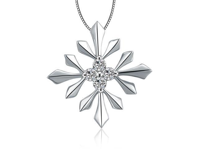18K White Gold Snowflake Diamonds Pendant W/925 Sterling Silver Chain 18