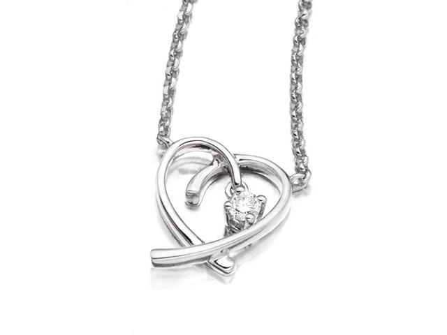 18K White Gold Heart Solitaire Round Diamond Necklace 16