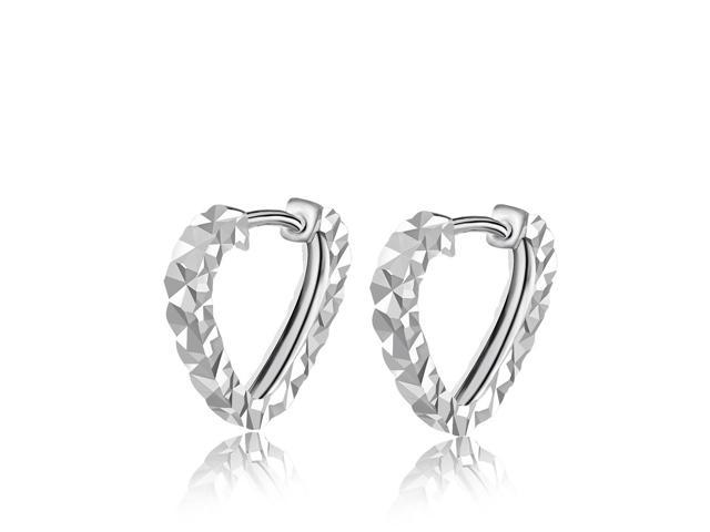 14K White Gold Fashionable Heart Shaped Diamond-Cut Clutchless Earrings