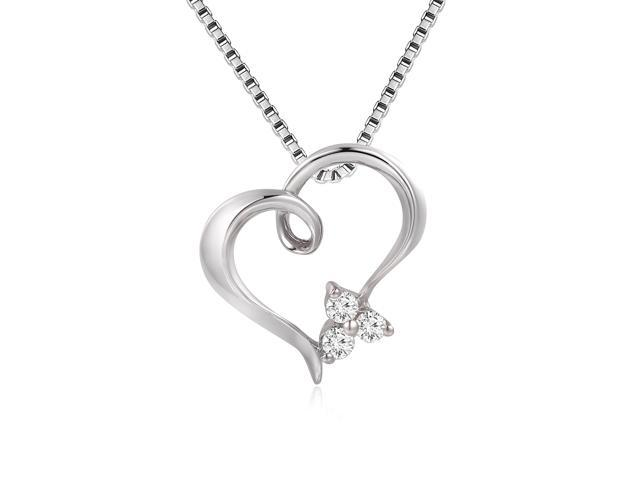 18K White Gold 3 Stones Hollow Heart Diamond Pendant W/925 Sterling Silver Chain 18