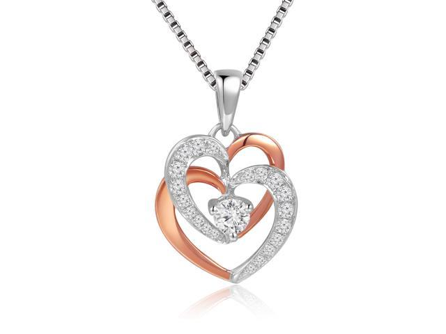 18K Rose and White Gold Diamond Double Heart Pendant w/925 Sterling Silver Chain 18