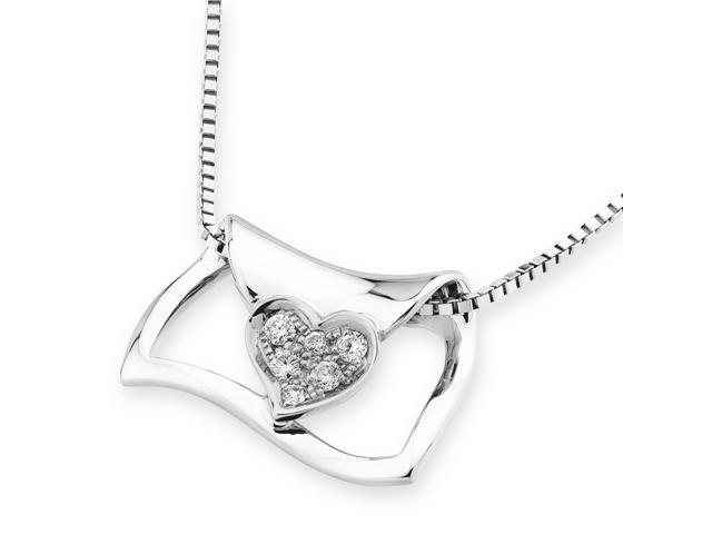 "18K White Gold Love Letter With Heart Diamond Pendant w/925 Sterling Silver Chain 18"" (0.05cttw, G-H color, good SI1-SI2 ..."