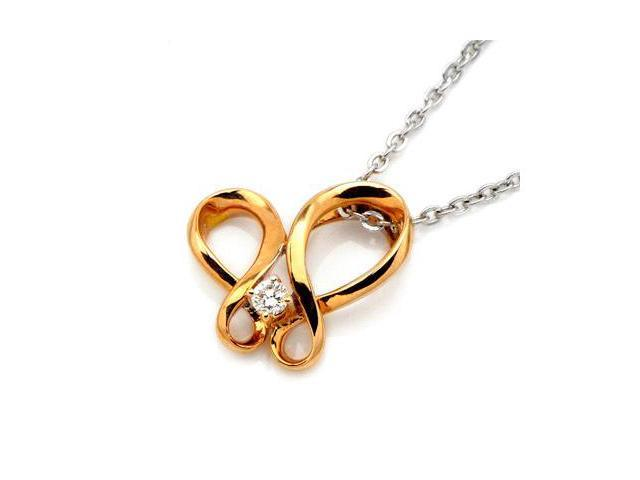 18K Rose Gold Dancing Diamond Pendant With 925 Sterling Silver Chain 18