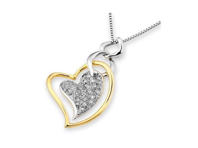 "18K Yellow and White Gold Dancing Heart Cluster Diamond Pendant With 925 Sterling Silver Chain 18"" (0.49 carats, G-H color, ..."