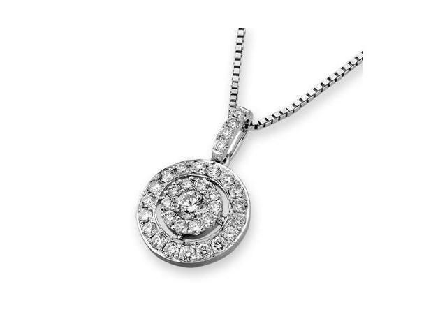 18K White Gold Illusion Diamond Pendant W/925 Sterling Silver Chain 18