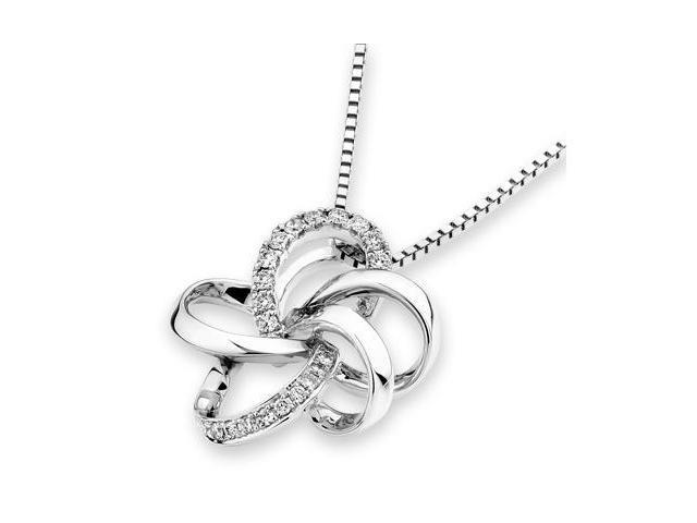 "18K White Gold Round Diamond Flower Pendant W/925 Sterling Silver Chain 18"" (0.10 cttw, G-H Color, VS2-SI1 Clarity)"