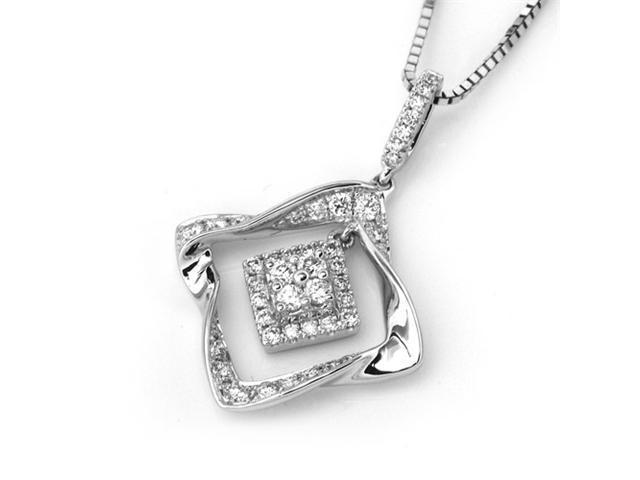 18K White Gold Round Diamond Dangle Rhombus Pendant W/925 Sterling Silver Chain 18