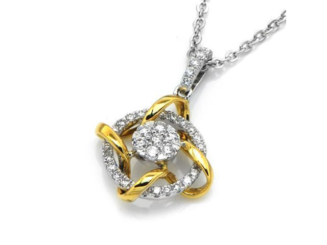 18K Yellow Gold and White Gold Round Diamond Dancing Flower Pendant W/925 Sterling Silver Chain 18