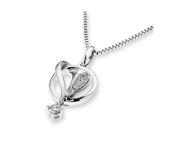 "18K White Gold Cluster Heart Inside Circle Dangling Diamond Pendant W/925 Sterling Silver Chain 18"" (0.09cttw, G-H color, ..."