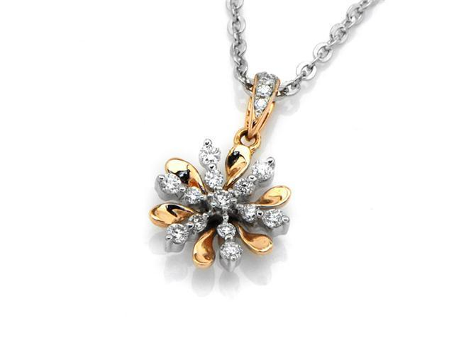 18K Rose Gold and White Gold Round Diamond Flower and Snowflakes Pendant W/925 Sterling Silver Chain 18