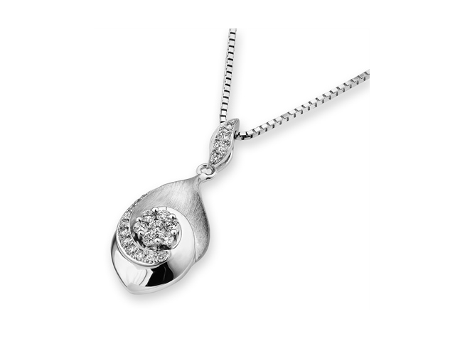 18K White Gold Round Diamond Dangle Pental With CenteRose Flower Pendant W/925 Sterling Silver Chain 18