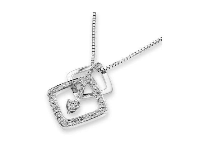 18K White Gold Round Diamond Double Rhombus With Pave Setting Diamond and Single Dangle Diamond Pendant W/925 Sterling Silver ...