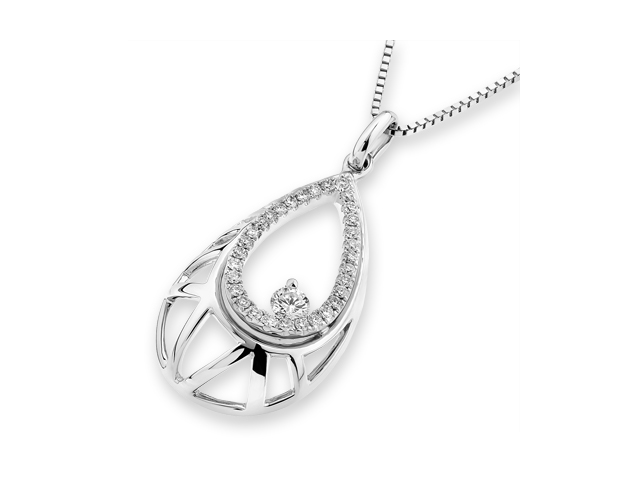 "18K White Gold Round Diamond Filligree Droplet Pendant W/925 Sterling Silver Chain 18"" (0.24 cttw, G-H Color, VS2-SI1 Clarity)"