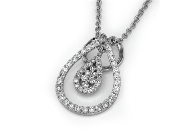 18K White Gold Round Diamond Double Droplet With Pave Setting Diamond Pendant W/925 Sterling Silver Chain 18