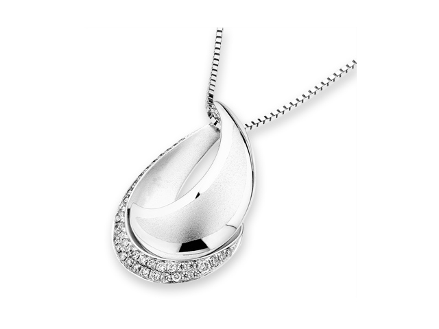 18K White Gold Round Diamond Double Cresent (Droplet) Pendant W/925 Sterling Silver Chain 18