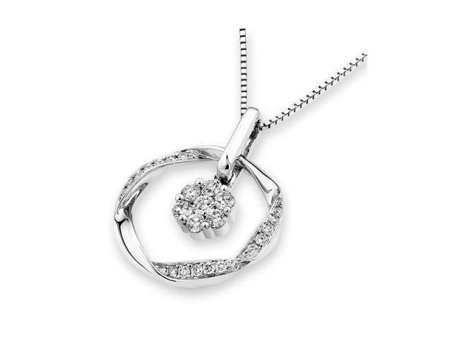 18K White Gold Round Diamond Dangling Diamond Set in Flower Shaped Pendant W/925 Sterling Silver Chain 18