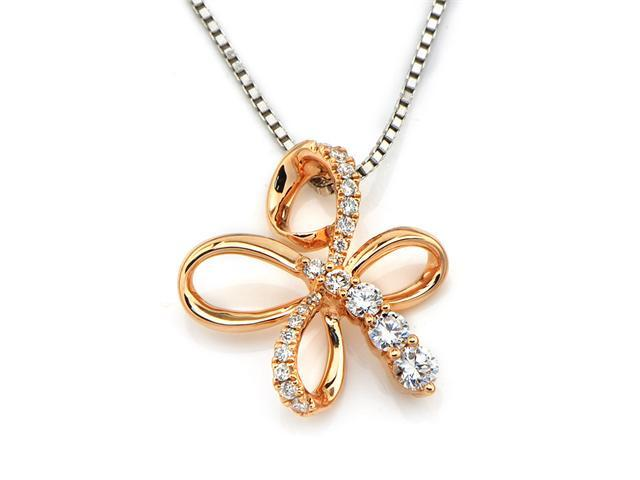 18K Rose Gold Polished Finish Round Diamond Flower Pendant W/925 Sterling Silver Chain 18