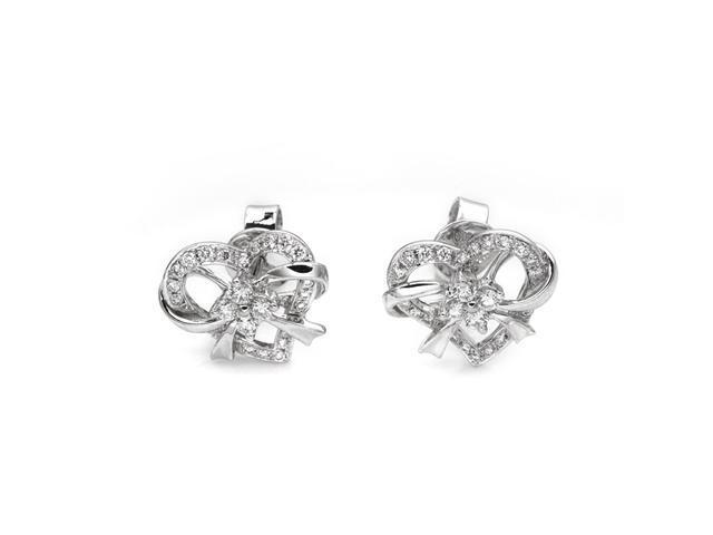 18K White Gold Polished Finished Round Diamond Heart With Bow Stud Earring  (0.41cttw, G-H Color, VS2-SI1 Clarity)